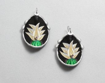 White Southwest Cactus Earrings, Unique Southwest Jewelry by Arizona Artist, Monte Voepel