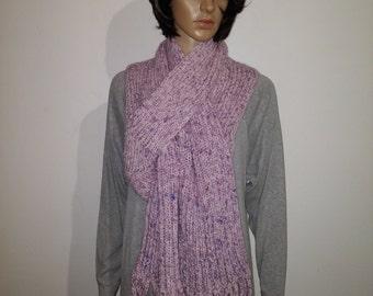 Purple wool scarf with fringe