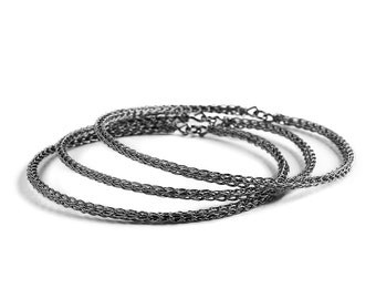 Gift for her - SIlver Bangle bracelets , gray bangle bracelets ,  3 stacking bangles made in wire crochet using SILVER , boho chic