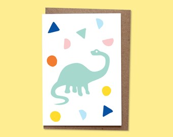DINO  Greetings card + recycled envelope