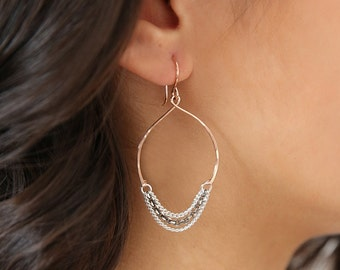 Wishbone Hoop Chained Chandelier Earrings