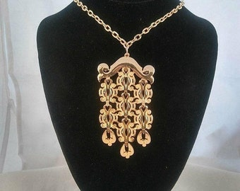 ON SALE Vintage High End Pendant Necklace, Statement 1960's Jewelry, Gift Idea For Her, Runway Jewelry