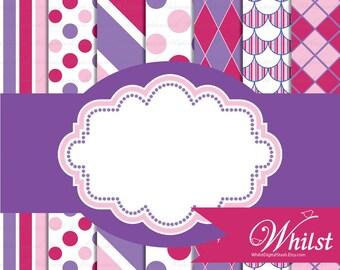 Pink Purple digital paper frame clip art, Printable Girl Birthday Party paper pack : p0220 3s353738 IP