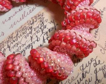 Strawberries and Cream Swirl Bracelet Bangle  Cellini Spiral Style