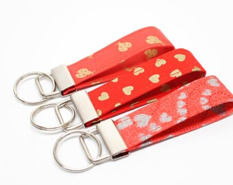 Valentines gift - Key Chain / Key Fob / Wristlet - Choose Your Fabric and lenght