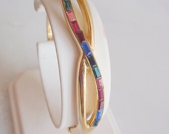 Vintage Bangle Bracelet, 1960's, Milti Colored Rhinestones in Gold tone setting