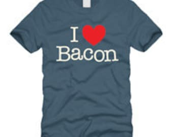 I LOVE BACON tee shirt with funny screen print design by Project Chane