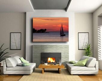 Sunset Sail, Fine Art Photograph, Large Wall Art Print, Sunset Decor, Home Decor, Beach Decor, Sailboat Decor, Nautical, Door County