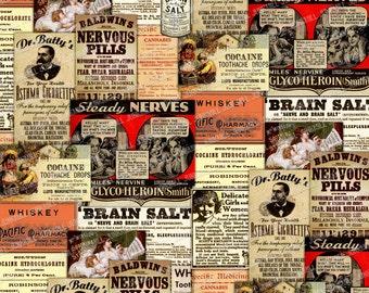 "APOTHECARY PAPER - Large Digital Printable Image - 12"" x 12"" Digital Scrapbooking Paper - Vintage Apothecary Medicine Labels, Quack Remedies"