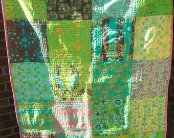 Large Square Patchwork Lap Quilt or Throw