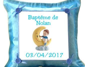 Blue pillows with christening personalized with name