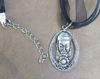 Black Choker With Silver Buddha Pendant