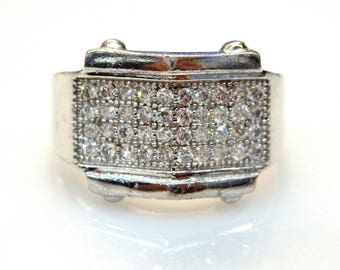 Sterling Silver Cubic Zirconia Pave Stamp Ring