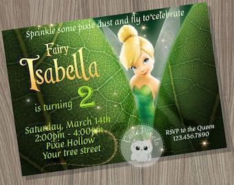 Tinkerbell Invitation, Fairy Invitation, Tinkerbell Birthday, Tinkerbell Party, Disney Fairies, Tinkerbell Fairy