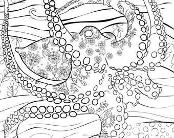 Adult Coloring Book, Page from Coloring Book For Adults, Octopus, Colouring Page For Download