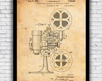 Movie Film Reel Projector patent design - wall art print (w/ optional frame)