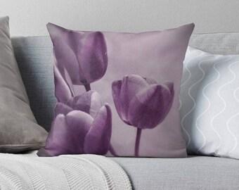 Purple pillow cover, flower pillow, purple cushion cover, purple home decor, shabby decor, flower cushion, tulip, lilac, mauve, lilac