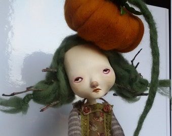 Reserved for Gayle Queen of Pumpkins art doll