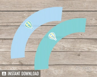 Hot Air Balloon Boy Baby Shower - Cupcake Wrappers - Blue Green - INSTANT DOWNLOAD - Printable PDF