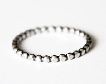 Ring - Sterling Silver Bead Band Stacker Ring - Stackable Rings - 925 - Mother's Ring - Skinny Ball Band - Beaded Silver Ring - Stacking