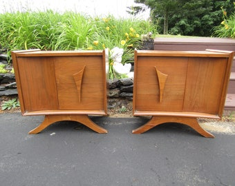 Mid Century Atomic Space Age Walnut Side Tables/Stands