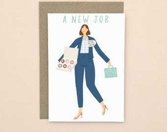 New Job Illustrated Card A6