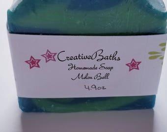 Melon Ball soap, homemade soap, cold process soap, handmade soap