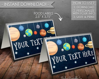 Outer Space Food Labels, Planet Food Labels, Solar System, Food Tents, Food Cards, Place Cards, Baby Shower, Instant Download #586