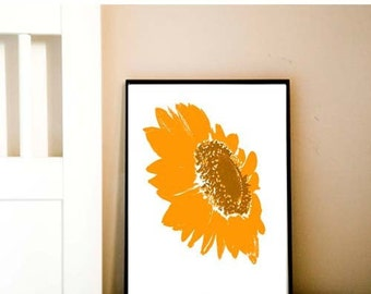 Orange Sunflower - fine art print, summer flower, flower art , sunflower art