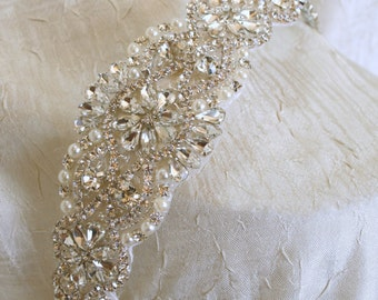 Wedding Headband - Rhinestone Headband - Bridal Headband - Rhinestone and Pearl Headband - Crystal Wedding Headband Bridal Headpiece
