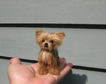 Felt Miniature Animal Sculpture / Needle Felted Dog / Custom Pet Portrait / Artist Sculpture / cute small size