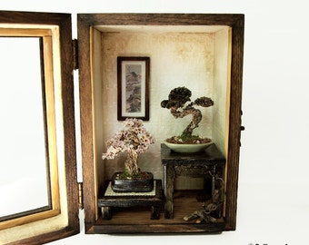 Bonsai Trees set, Vintage miniature Dollhouse 1/12 (BMS05)