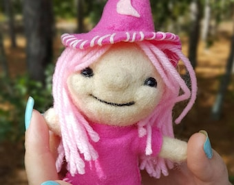 Needle felted Witch-art doll- handmade collectible felt doll- Pink Witch-wicca
