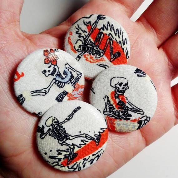 Surf Squeletons Fabric 31mm pinback button