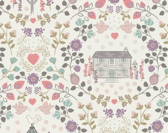 Dove House on Light Cream 165.1  - Lewis and Irene Fabric - By the Yard