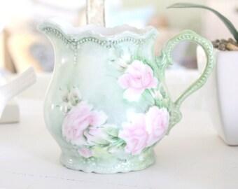 Vintage, Artist Signed Handpainted, Rose Pattern Pitcher, Repurposed Vase, Gifts for Her