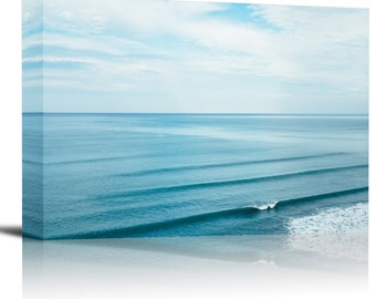 Ocean Sea Waves Water Surface Art Print Wall Decor Image - Canvas Stretched Framed
