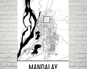 Carte de Mandalay, Mandalay Art, impression de Mandalay, Mandalay Myanmar affiche, Mandalay Wall Art, carte de Myanmar, cadeau birman, birmane Decor