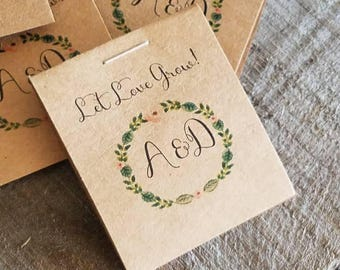 RUSTIC Little Favors Monogram Initials Floral Wreath Design Wildflower Seeds Let Love Grow Flower Seed Packet Favors Bridal Shower Wedding