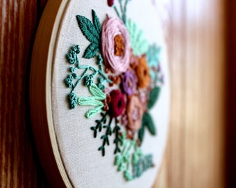 Hand Embroidered Floral Free Style Hoop