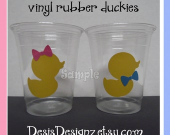 24 Gender reveal Rubber Ducky vinyl decals 12 oz. 16 oz or 20 oz. clear party cups Baby shower decorations girl boy sprinkle party