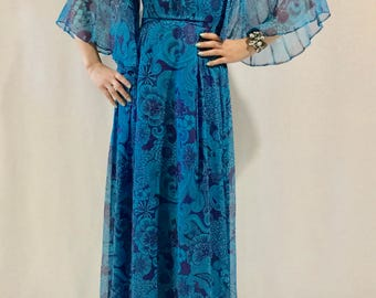 Beautiful Cape-Sleeved 70s Floral Gown
