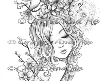 Digital Stamp - Instant Download - Spirals - Fantasy Line Art for Cards & Crafts by Artist Jerimiah Ketner for Crafts and Me