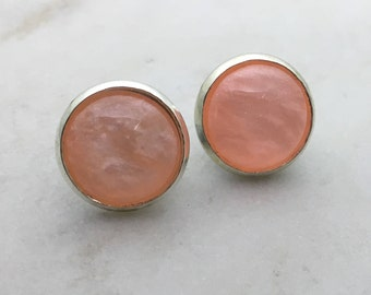 Shell orange/pink glass dome stud earrings. 14mm with surgical steel and nickel free posts.