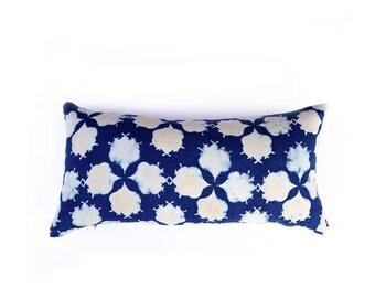 Pillow Indigo blue navy throw pillow bohemian boho shabby chic block printed, housewarming gift, moroccan decor organic cotton - FILAMENT
