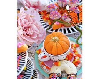 Fantasievolle Herbst-Tee-Party - 5 Postkarten-Set
