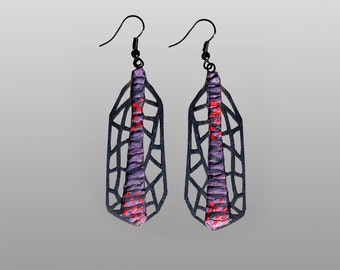 Earrings, modern, contemporary, unique, original design, lasercut wood, polymer clay, black steel hooks, Free Shipping