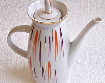 Vintage Porcelain Coffee Pot. Polonne Porcelain Factory. Retro Soviet Coffee Server. Old Porcelain Coffeepot. Vintage Teapot.