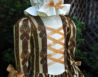 Girls Colonial gown/ with double flounce at sleeve,  Cap.... ..Please read full details before ordering.