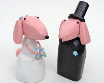 Poodle Wedding Cake Toppers | Custom Wedding Cake Toppers |Pink Wedding | Dog Wedding | Bride and Groom Dogs